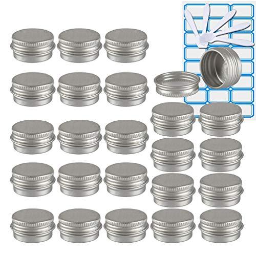TIANZD 50 Piezas Bote de Aluminio con Tapa Rosca - 5ml, Plata Tarros de Aluminio Vacíos, Cosmetica cremas, Almacenar Pequeñas Cosas, Velas - 2X Etiqueta y 10x Mini Espátula
