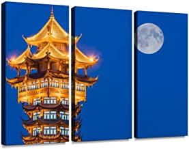 Chinese Traditional Tower Illuminated at Night Print On Canvas Wall Artwork Modern Photography Home Decor Unique Pattern Stretched and Framed 3 Piece
