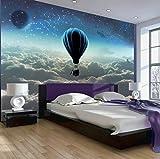 FHOMEY Papel Pintado Murales 3D Nordic Starry Living Room Tv Fondo Pared Papel Cabecera Dormitorio Sofá Papel Pintado Creativo Globo Aerostático Decoración Mural-350 * 245Cm