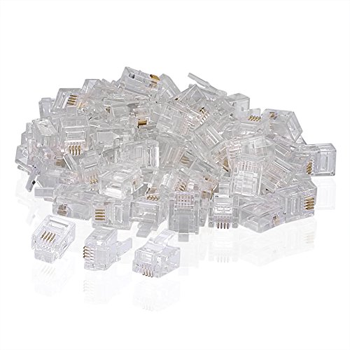 SIENOC 100 PCS RJ11 Stecker 6P4C Telefon Modular Telefonkabel Stecker Adapter Crimp