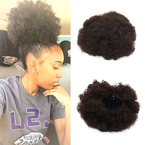Extensions de cheveux synthétiques bouclés avec pinces et élastique - Cheveux africains crépus courts pour queue de cheval volumineuse - Pour Afro-Américaines