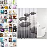 Duschvorhang, viele schöne Duschvorhänge zur Auswahl, hochwertige Qualität, inkl. 12 Ringe, wasserdicht, Anti-Schimmel-Effekt (Black Stones, 180 x 200 cm) …