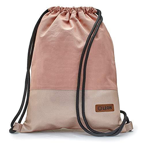 By-Bers LEON Tasche Turnbeutel Rucksack, Design unifarben mit Kunstlederboden, Sportbeutel Gym Bag Gymsack Hipster Fashion, Rosa_rosametallic, flach 34cmx45cm +-1cm
