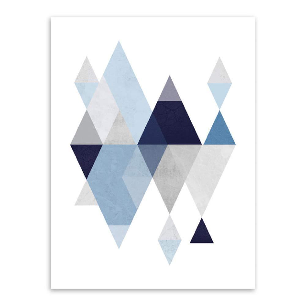 LiMengQi Abstracto Azul Forma geométrica Arte Vintage Imprimir Cartel Minimalista Hipster Pared Arte Imagen decoración nórdica para el hogar Pintura sin Marco (No Frame): Amazon.es: Hogar