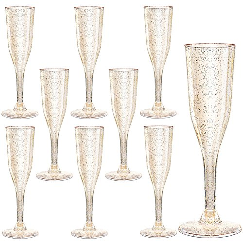 105 Pieces Plastic Champagne Glasses Gold Glitter, 5 Oz Plastic Champagne Flutes, Premium Disposable Clear Cups Prefect for Wedding and Party (Gold Glitter Champagne Flutes)