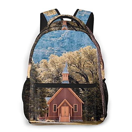 COVASA Casual Style Schulrucksack Travel Bookbag,Holzhäuser auf ländlichen Wiesen,Leichter großer Schüler-Kind-Erwachsenen-Rucksack für 15,6 \'Laptop