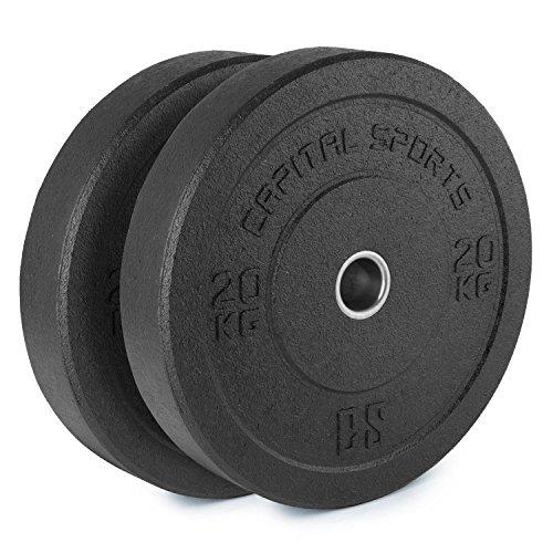 Capital Sports Renit Hi Temp Coppia Dischi Sollevamento Pesi Allenamento Palestra Body Building (2 x 20 kg, Attacco 50,4 mm, Nucleo in Alluminio Resistente agli Urti) Neri