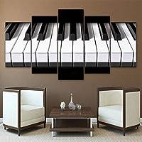 キャンバス絵画5ピースア ピアノ鍵盤 HDプリント壁アート家の装飾キャンバス絵画写真ポスタープリント(フレーム付)