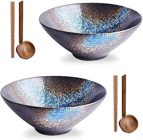 Ramen Bowl Set Salat Suppe Nudel Reisschüsseln, Porzellan Home Kitchen Müslischalen, 2 Sets 1000 ml / 35,2 oz Japanische Art große Schüssel für Geschirrspüler