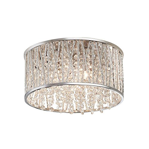 3-Light Polished Chrome and Crystal Flushmount