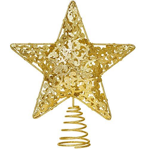 YQing 10.7 Pollici Puntale Albero Natale Glitterato Stella Albero di Natale, Oro Stella per Albero di Natale per Albero di Natale Decorazione per la Casa