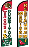 Tacos Burritos Mexican Restaurant Windless Flag Pack of 2 (Mount and Poles are Not Included)