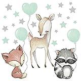 Pandawal Wandtattoo Waldtiere mit Luftballon Sterne Tiere Wandaufkleber Kinderzimmer Deko Wandbilder Baby Reh Fuchs Waschbär Mint
