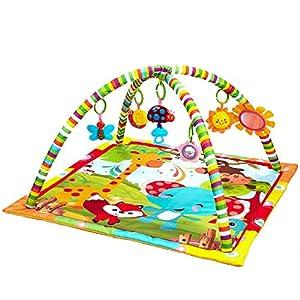 Recién nacido Bebé Playmat, Actividad musical Gimnasio, Peluche, Animales divertidos, Música, Texturas, Sonajero, Mordedor, Espejo, para bebés Niños pequeños Patada de recién nacido