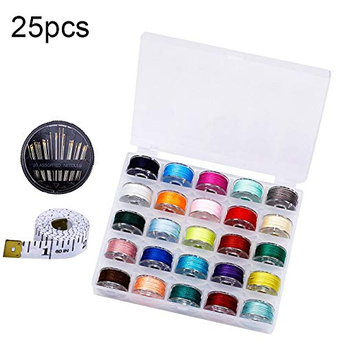 New 25/36/50/72Pcs Coloful Sewing Thread 25 Grid Clear Plastic Machine Bobbins Embroidery Pre-wound ...
