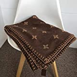 WCNMD European and American Noble Luxury Coffee Color Blanket Shawl Scarf Air Conditioning Sofa Aircraft Blanket Shawl,Brown,140x180cm
