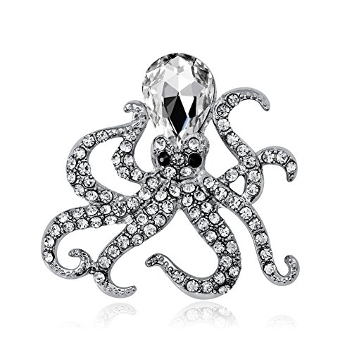 hacoly Pulpo Broches Pin Mujer Retro Broche con brillantes, perlas boutique aleación...