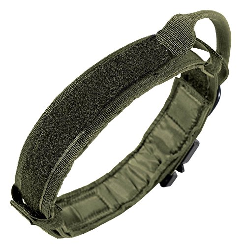 LIVABIT Heavy Duty Nylon Tactical Pet Dog Training Collar Handle Large OD Green
