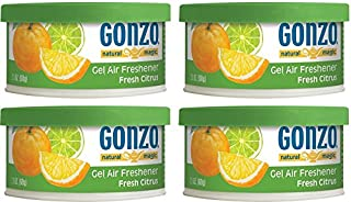 Gonzo Natural Magic Air Freshener Tin - 4 Pack - Citrus - Natural - Small Area - Home Car and Closet Air Freshener Odor Eliminator and Absorber