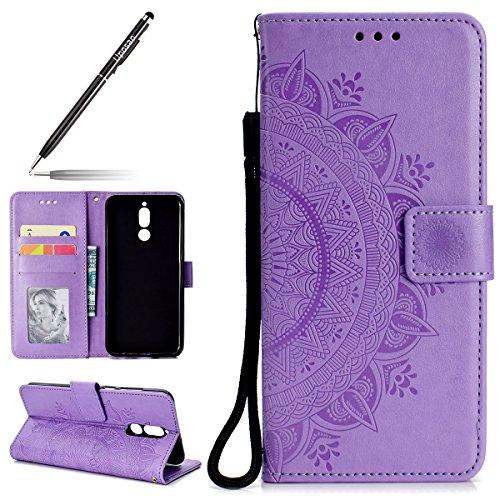 Uposao Kompatibel mit Huawei Mate 10 Lite Handytasche Klappbar Flip Case Prägung Blumen Tasche Leder Brieftasche Lederhülle Leder Handy Schutzhülle Cover mit Magnetverschluss,Lila