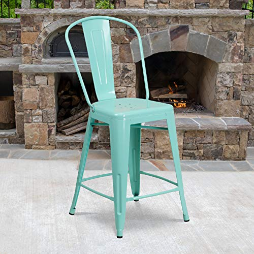 """Flash Furniture Commercial Grade 4 Pack 24"""" High Mint Green Metal Indoor-Outdoor Counter Height Stool with Back"""