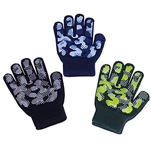 EvridWear男孩女孩魔术弹力手套手爪3双包拼盘,童装尺码冬季保暖手套儿童(3对迷彩,6-8Years)