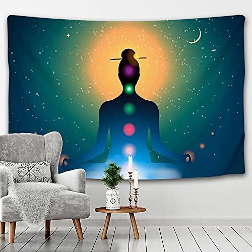 KHKJ Indischer Buddha Meditation Chakra Wandteppich Wandbehang Stechapfel Wandteppich Wandtuch Yoga Teppich Böhmische Wohnkultur A12 230x180cm