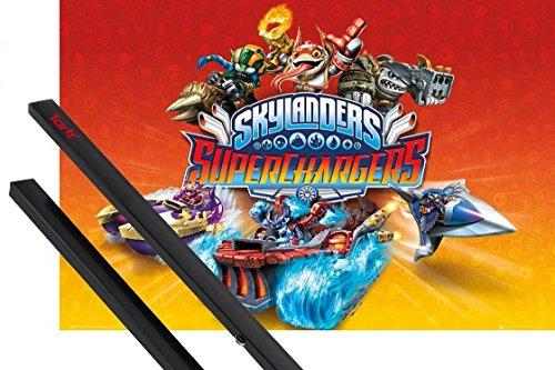 1art1 Skylanders Poster (91x61 cm) Superchargers, Charaktere Inklusive EIN Paar Posterleisten, Schwarz