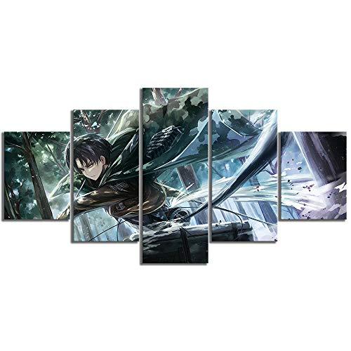 Gmoope Prints on Canvas 5-teiliges Wandbild Leinwandbild Levi-Ackerman Attack On Titan Anime HD Druck 5 Panel Leinwand Bilder Poster Home Wall Decoration Artwork Mural Foto