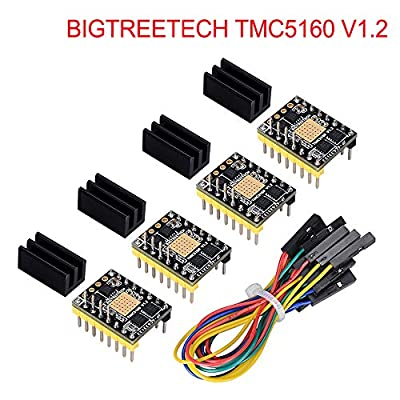 KINGPRINT TMC5160 v1.2 Stepper Motor StepStick Mute Silent Driver Support SPI with Heatsink for 3D Printer Control Board (4 Pieces)