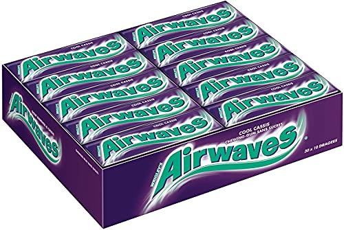AIRWAVES - Chewing-Gum au goût COOL CASSIS, sans sucres - 30 Étuis de 10 dragées - 420 g