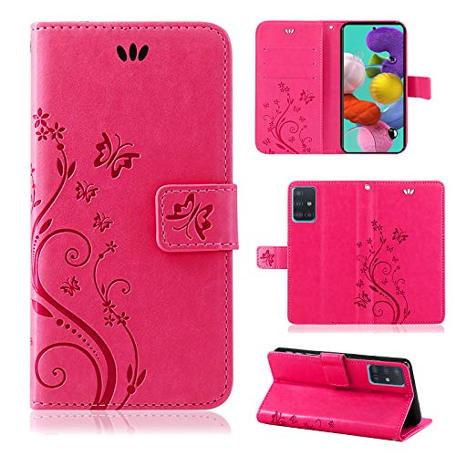 betterfon | Samsung Galaxy A51 Hülle Handy Tasche Handyhülle Etui Wallet Case Schutzhülle mit Magnetverschluss/Kartenfächer für Samsung Galaxy A51 SM-A515 Blume Pink