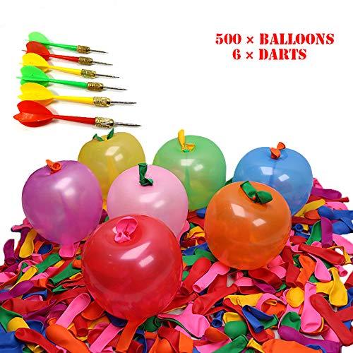 Vientiane Dart Luftballons, 500 Party-Luftballons und 6 Plastikpfeile, Buntes Dartballon-Spaßset, Karnevalswurfspiele, Ballon Spiel Set, Reine Naturlatexballons für Geburtstag, Hochzeit, Kinderparty