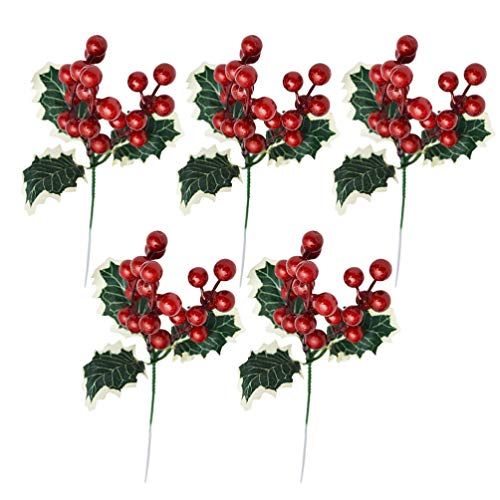 HEALLILY 5pcs Artificial Red Berry Branches Christmas Picks Greenery Xmas Artificial Cedar Branch Christmas Faux Garland