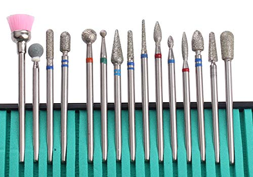 MZCMSL Cuticle Drill Bit Set,15pcs Diamond Cuticle Remover Bits Kit with Case,Professional 3/32 Manicure Drill Bits