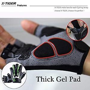 X-TIGER Guantes Ciclismo MTB Dedo Medio Guantes Bici Respirable Reflectante 3D Gel Almohadilla para Hombre (Rojo,L)