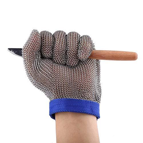 Bewinner Edelstahl Schnittschutzhandschuh Butcher Proof Meat Process Safety Tool, Sicherheitsarbeitshandschuhe Mesh Butcher Handschuh für Industrie, BAU und Lebensmittelverarbeitung