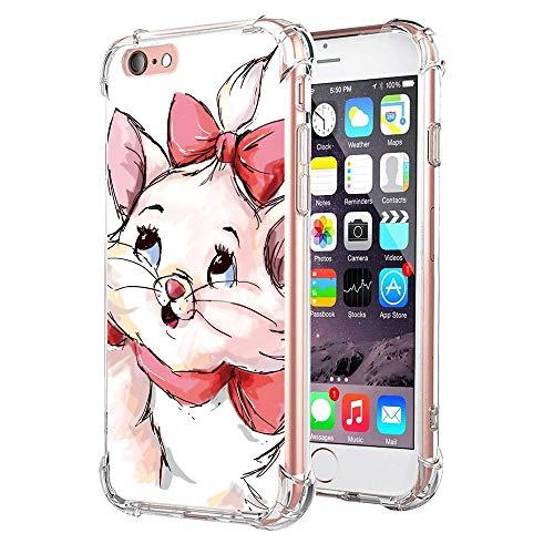 """Zhuofan Plus Coque Apple iPhone 6 Plus, Silicone Transparente avec Motif Design Antichoc avec Coussin d'air Housse TPU Souple Shockproof Case Cover pour iPhone 6Plus / 6SPlus 5,5"""", Chat Rouge"""