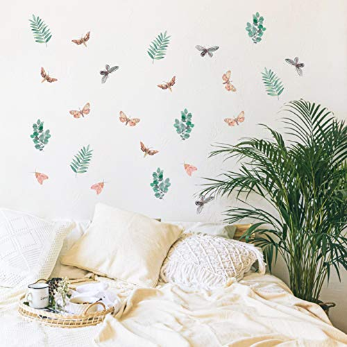 Vieli Arte Small Botanical Watercolor Wall Decals. Vinyl Moths & Forest Leaves Decal, 24 pcs. Colorful Nursery, Kids and Adult Room Decor. Tropical Transparent Original Artist Design. Adhesive Jungle Leaf, Insect Sticker Mural Bedroom Decoration. Pink Butterfly Animal and Green Plants.
