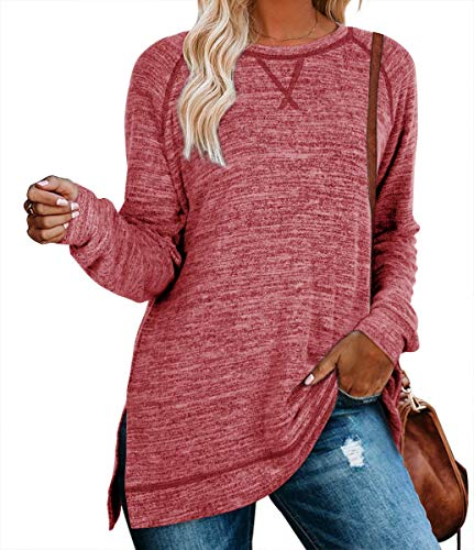 Nekosi beiläufiges Sweatshirt der Frauen Lange Hülse Loses Herbst Pullover Seite Split Tunika Rot Medium Tops