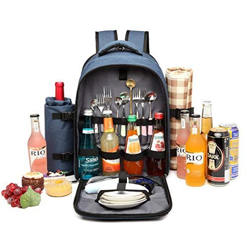 Kono Mochila de picnic para 4 personas con soporte de botella extraíble Portador de vino Mochila de almuerzo de picnic grande para acampar Barbacoa Actividades familiares al aire libre(Armada)