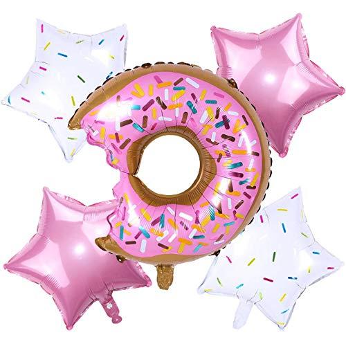 DIWULI, Set di 5 palloncini a forma di ciambella e stelle, in pellicola di colore bianco, rosa, set di decorazioni per compleanni, palloncini in pellicola, compleanni, ragazzi e ragazze, feste a tema