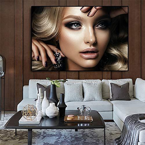 Sanzangtang zwart en goud Mooie schoonheid vrouw poster en afdrukken op Indiase olieverfschilderij canvas Nordic woonkamer muurschildering afbeelding zonder lijst