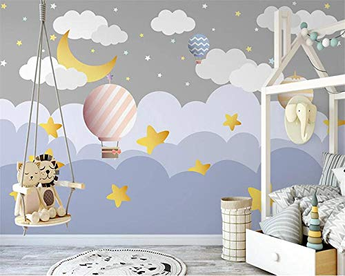 Custom Nordic Hand-Painted Clouds hot air Balloon Starry Sky Children's Room Background Wallpaper Papier peint Speedcoming x1130-200x140cm/79'x 55'