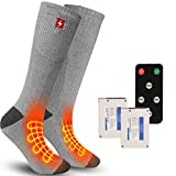 REIFUT Heated SocksElectric Foot Warmers with 4 Heating Settings, Battery Heated Thermal Heating Socks with Remote Control Switch, Wireless Foot Warmer for Hunting Camping Hiking Man Woman, Size L