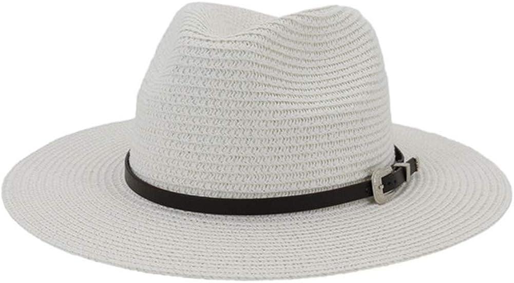 Chickle Womens Mens Fedora Straw Jazz Cap Summer Beach Panama Sun Hat
