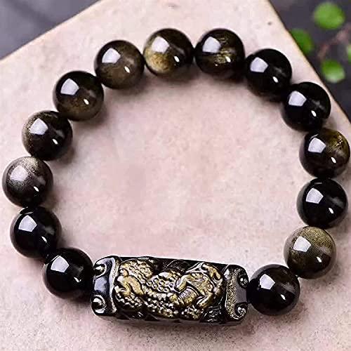 AMOZ Amuleto Pulsera Amuleto, Pulsera Feng Shui Oro Natural Obsidiana Plato Cuadrado Tallado Pixiu/Piyao Joyas Amuleto Atrayendo Riqueza Dinero Amor Hombre/Mujer,16 Mm