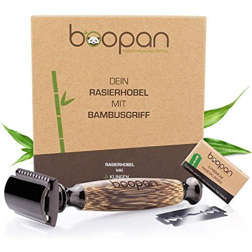 boopan® Premium RASIERHOBEL mit Griff aus Bambus nachhaltig inkl. 5 Rasierklingen - ZERO WASTE Rasierer Set für Damen & Herren - geschlossener Kamm - plastikfrei inkl. eBook