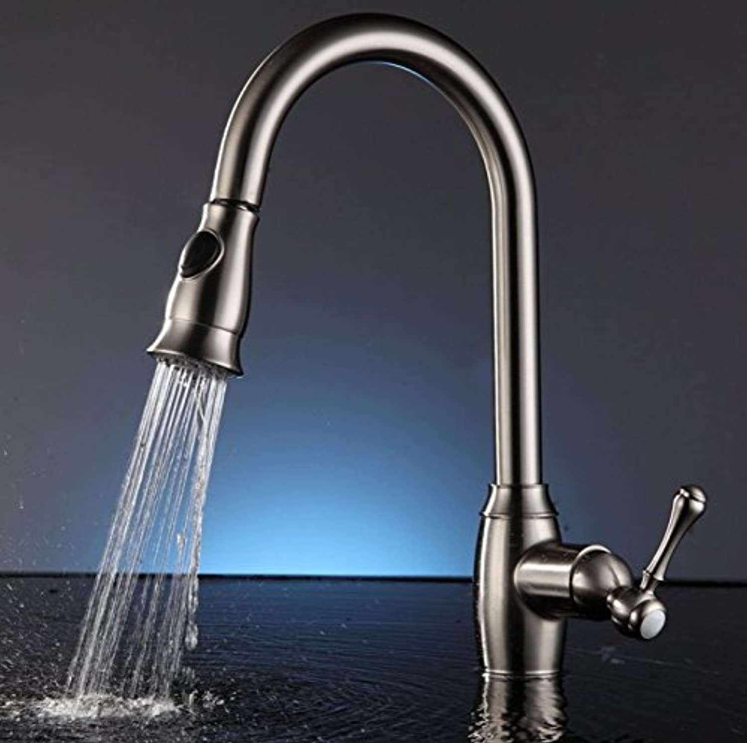 Mangeoo Faucet All Copper Nickel Wire Drawing Kitchen Sink, Pull Faucet, Hot And Cold Water Mixing, redating Vegetable Basin Faucet.