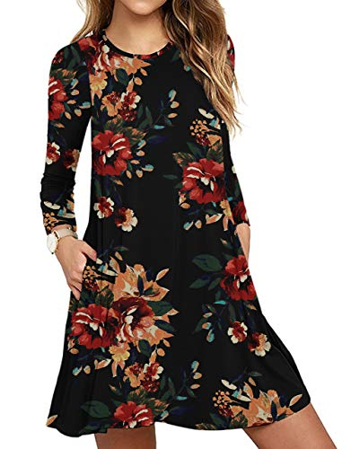 Women Long Sleeve Round Neck Floral Summer Casual Loose Dress Brown Floral Black Large (Apparel)
